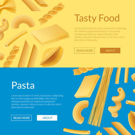 Vector realistic pasta types web banner and page poster templates illustration Ilustração Vetorial