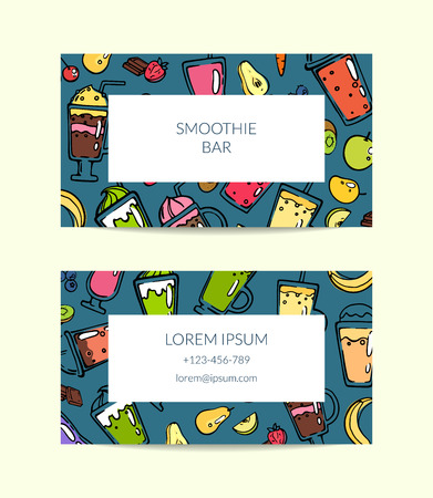 Vector business card with doodle smoothie for cafe or vegan bar illustration Иллюстрация