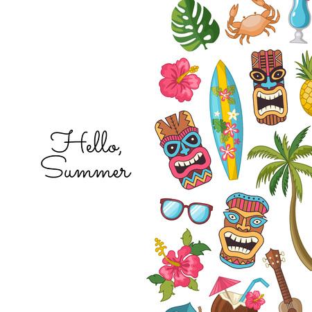Vector cartoon summer travel elements background illustration. Banner hello summer Illusztráció