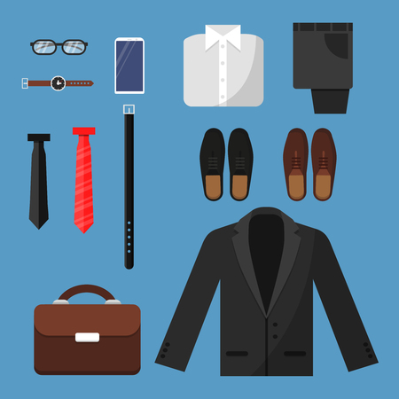 Businessman clothes. Fashion mens items pants shirt shoes watches tie bag vector top view flat illustrations. Businessman fashion shoes and phone, watch and pants Illustration