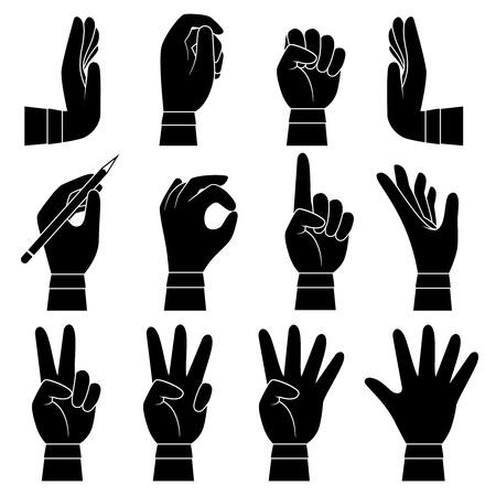 Raccolta di gesti delle mani. Palme e dita delle braccia maschili e femminili che puntano dando presa tenendo la siluetta del fumetto di vettore. Illustrazione della mano che gesticola, ok e indica l'indice Vettoriali