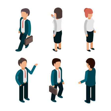 Business people isometric. Office managers workers male and female directors leaders team vector 3d pictures. Illustration of business worker, employee staff