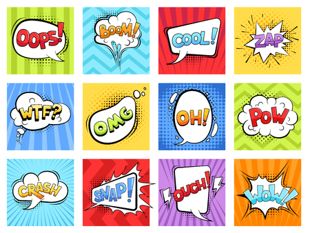 Comic sounds. Cartoon explode stripped burst frames and speech bubbles with words boom vector retro template. Illustration of bubble speech expression Vettoriali