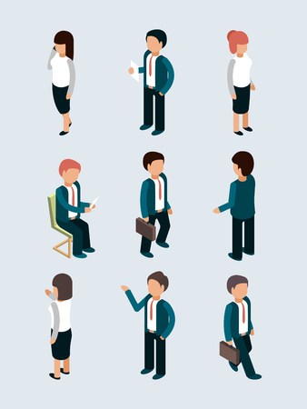 Isometric business people. Young male female office managers director workers in action poses team dialog vector 3d business characters. Illustration of businessman isometric and young boss female