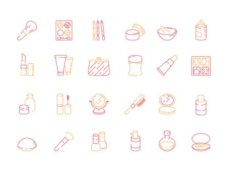 Beauty icons. Makeup items for women lipstick nail polish cream eyeshadows cosmetics vector colored symbols. Illustration of cosmetic brush and perfume