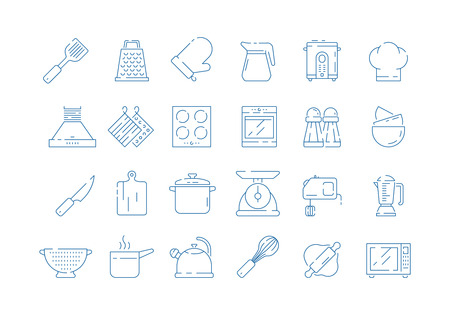 Cooking tools icon. Cook mittens household set for kitchen pan scoops spoon and fork scale vector thin symbols isolated. Kitchen household and cooking kitchenware utensil illustration