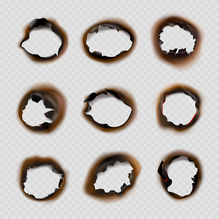 Burned holes paper. Grunge designs of fire damaged circles shapes vector pictures. Fire burn paper hole, burnt damage illustration