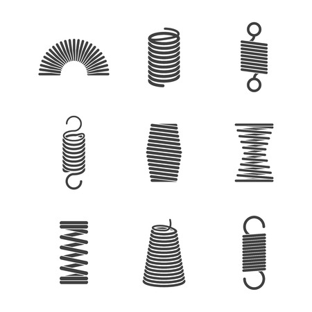 Metal flexible spiral. Suspension steel wire coils vector icon collection. Illustration of suspension wire, flexible steel curve, flexibility spiral