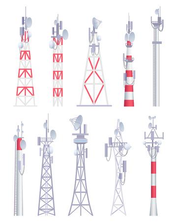 Torre de comunicación. Radiodifusión celular tv radio inalámbrica antena satélite construcción imágenes vectoriales en estilo de dibujos animados. Ilustración de torre para comunicación por radio, antena satelital. Ilustración de vector
