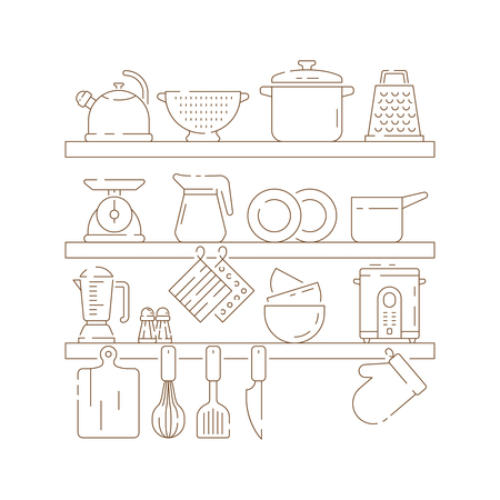 Kitchen shelves. Cooking items pots spoon fork knife pans vector thin linear composition. Illustration of cooking pot and equipment kitchenware