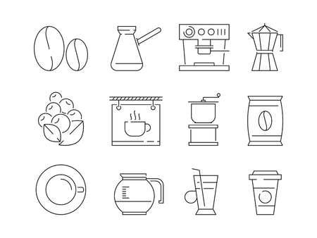 Coffee time icon. Tea and hot drinks mugs editing food machine irish coffee vector linear thin symbols. Mug and drink tea, hot coffee beverage illustration