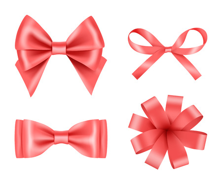 Bow realistic. Holiday decoration colored bow with satin ribbons vector 3d pictures set. Illustration of realistic ribbon 3d for christmas gift
