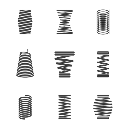 Flexible steel spiral. Metal bended wire coils shape elastic and compacted forms vector icon silhouettes isolated. Flexible steel curve, compacted flexibility spiral illustration Иллюстрация