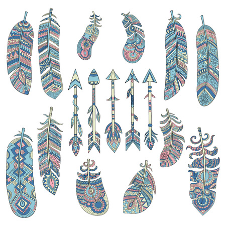 Colored tribal feathers. Arrow with pattern traditional american indian cultural decorated elements vector pictures. Illustration of tribal arrow and feather, indian ethnic