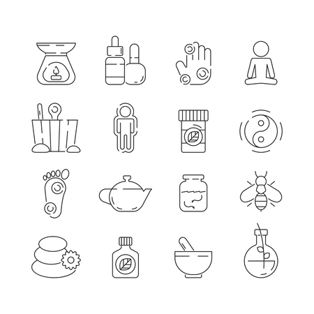 Alternative medicine icon. Beauty complementary naturopath herbal therapy relaxation meditation vector thin symbols. Therapy spa, herbal for healthy, medical naturopathy illustration Illustration
