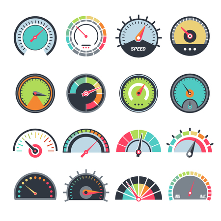 Level measure symbols. Speedometer guage indication fuel vector infographic symbols collection. Speedometer indicator, fuel gauge and measure meter illustration