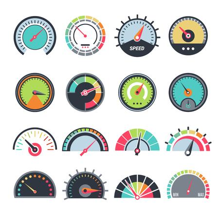 Level measure symbols. Speedometer guage indication fuel vector infographic symbols collection. Speedometer indicator, fuel gauge and measure meter illustration