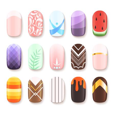 Nageldesigns. Farbige Vorlage der Fingerkunstdesign-Vektorbilderkarikatur. Illustration des Manikürenagels, Schönheitspolitur-Glamour