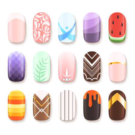 Nail designs. Colored template of finger art design vector pictures cartoon. Illustration of manicure nail, beauty polish glamour
