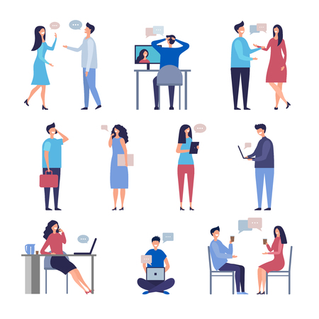People talk. Socializing online web chatting business discussion community vector characters isolated. Illustration of social discussion, communication people