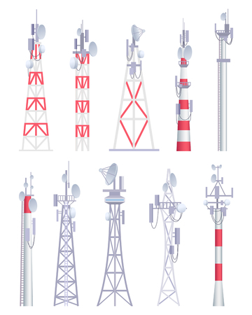 Communication tower. Cellular broadcasting tv wireless radio antena satellite construction vector pictures in cartoon style. Illustration of tower for radio communication, satellite antena