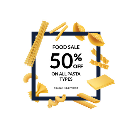 Vector realistic pasta types flying around frame with place for text illustration isolated on white Ilustração Vetorial