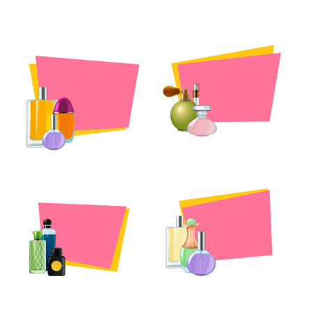Vector perfume bottles stickers with place for text set illustration isolated on white background