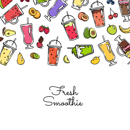 Banner and poster vector doodle colored smoothie drink background illustration  イラスト・ベクター素材