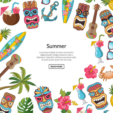 Vector cartoon summer travel elements tiki background illustration. Wev banner and poster with text