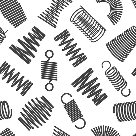 Flexible spiral pattern. Metal elastic twisted and compacted forms bended wire coils vector seamless pattern for textile designs. Illustration of flexible coil, twist compress compacted