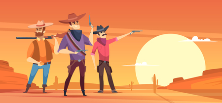 Western background. Dessert silhouettes and cowboys on horses wildlife vector illustrations. People with gun in sand desert