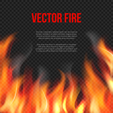 Fire background. Light of blazing flame on transparent background vector explosion vector template. Illustration of danger hell fire banner Stock Vector - 125640785