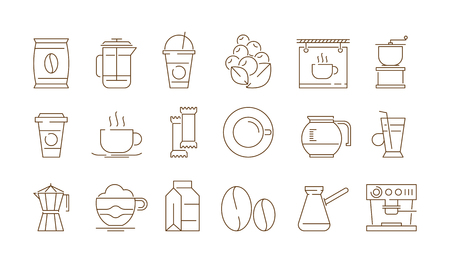 Coffe shop icon. Hot drinks tea and coffee time with cake food vector thin symbols isolated. Coffee drink and tea illustration