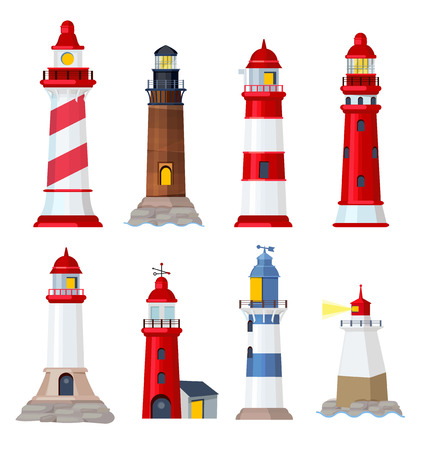 Lighthouse cartoon. Port security ocean or sea vector building. Lighthouse navigation, architecture guide beacon illustration