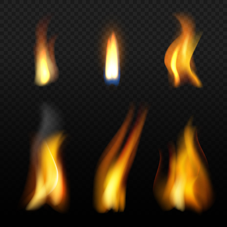 Fire flame template. Realistic fuego effects candlelight with orange smoke vector realistic isolation. Fire hot, bonfire realistic, fiery and flame illustration