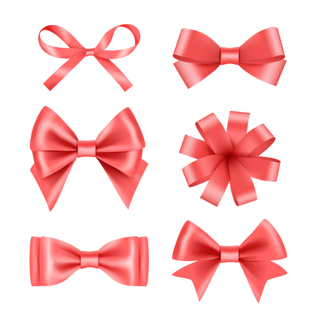 Bow with ribbons. Satin silk decoration for celebration or party vector realistic pictures. Illustration of ribbon tape 3d, strip thin and thick satin Banco de Imagens - 125640800
