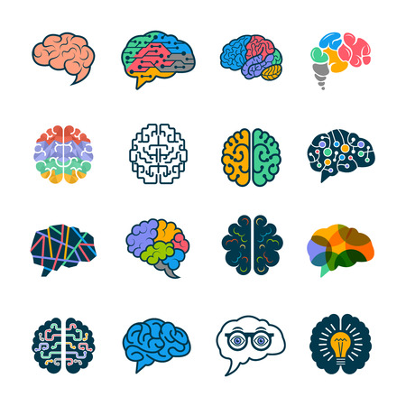 Human brain collection. Creative silhouettes of smart minds genius remember vector logotypes elements. Illustration of mind and brain, genius brainstorm