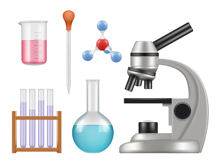 Chemical lab items. Science laboratory collection bottles microscope glass tubes biology vector realistic tools. Illustration of lab experiment, biology and chemical Illustration