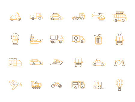 Urban transport icon. Public vehicles taxi motorcycle planes boats helicopter car train vector outline pictures. Illustration of transportation traffic road and air, helicopter and steam locomotive