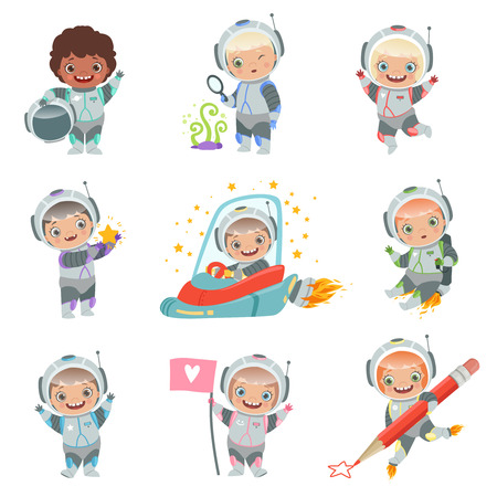 Childrens in space. Kids astronauts funny vector characters in rocket cosmonaut. Rocket and astronaut kids, cosmonaut and spaceship illustration