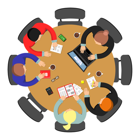Office meeting top view. Conference group teamwork discussion at roundtable business vector concept. Illustration of office discussion group 向量圖像