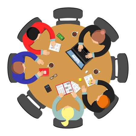 Vista dall'alto della riunione dell'ufficio. Discussione del lavoro di squadra del gruppo di conferenza al concetto di vettore di affari della tavola rotonda. Illustrazione del gruppo di discussione dell'ufficio Vettoriali