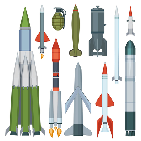 Raccolta di missili. Insieme del fumetto di vettore di armi militari dell'armatura di volo della difesa. Illustrazione di arma militare, razzo nucleare Vettoriali