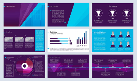 Slideshow template. Business magazine pages or annual report designs with colored abstract shapes and text vector. Illustration of leaflet project, slide template information