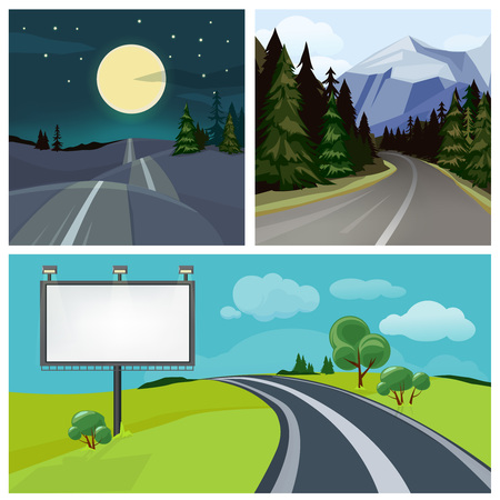Road to city. Highway and different types of urban road over hills vector weather landscape. Illustration of highway road, travel transportation Illustration