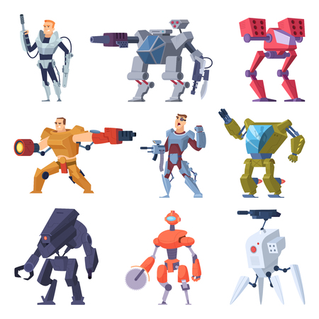 Combat robots. Armor transformers android protective electronic soldier future weapon vector characters. Illustration of robot machine, combat robotic technology 일러스트