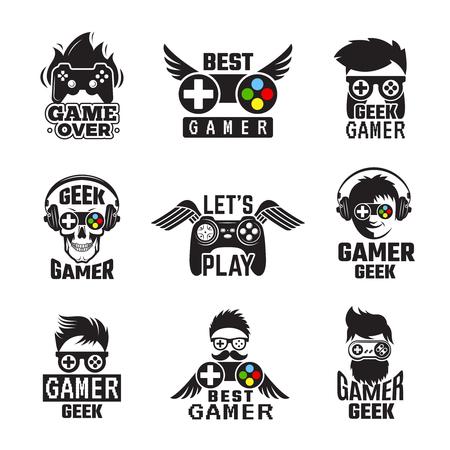 Insignias de videojuegos. Controlador de consola de joystick para etiquetas vectoriales geek de juegos. Joystick para ilustración de videojuegos, controladores y dispositivos