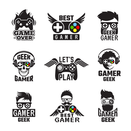 Video game badges. Joystick console controller for gaming geek vector labels. Joystick for video game, controller and gadget illustration 向量圖像