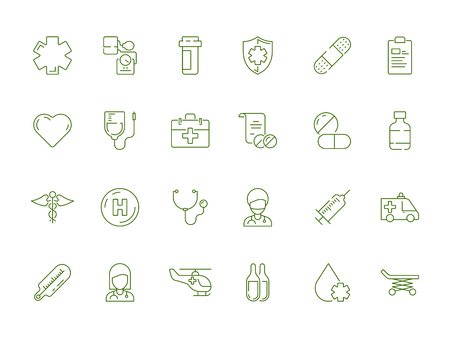 Symbol für das Gesundheitswesen. Medizinische Apotheke Medikamente dosieren Pillen Medikamente Vektor medizinische Symbole isoliert. Medizin und Pharmazie für Pflege, Behandlung Gesundheitsillustration