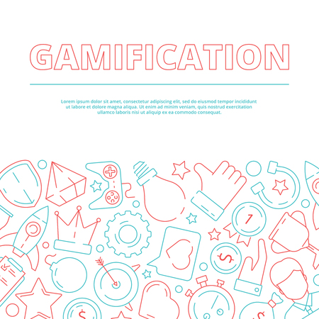 Gamification background. Business rules for workers game achievement work motivation vector concept picture. Illustration of banner gaming and rewarding for business competition
